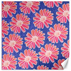 Pink Daisy Pattern Canvas 16  x 16