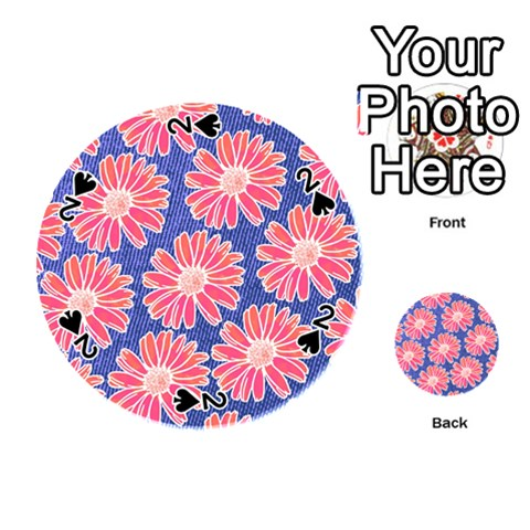Pink Daisy Pattern Playing Cards 54 (Round)