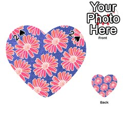 Pink Daisy Pattern Playing Cards 54 (Heart)