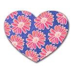 Pink Daisy Pattern Heart Mousepads Front