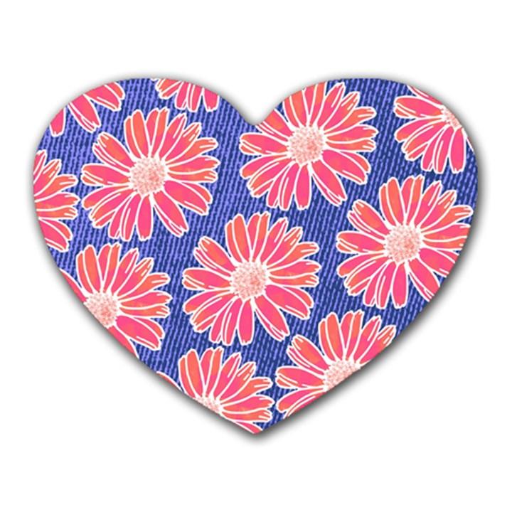 Pink Daisy Pattern Heart Mousepads