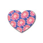 Pink Daisy Pattern Rubber Coaster (Heart)  Front