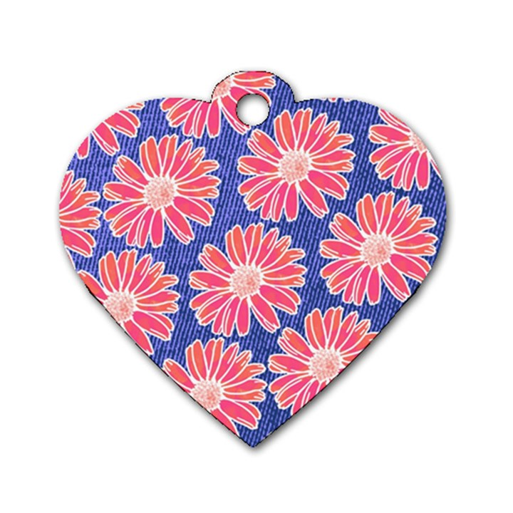 Pink Daisy Pattern Dog Tag Heart (Two Sides)