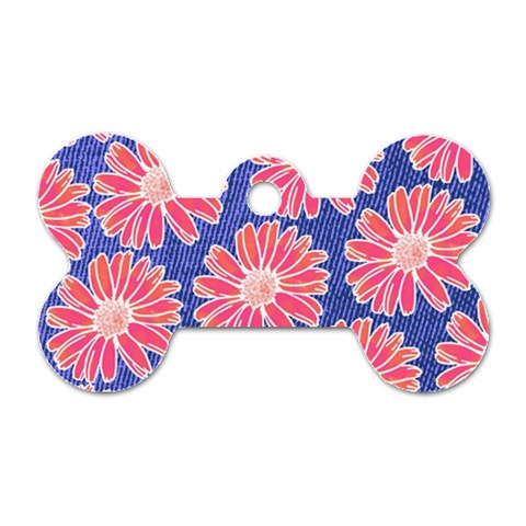 Pink Daisy Pattern Dog Tag Bone (One Side)