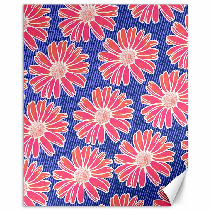 Pink Daisy Pattern Canvas 11  x 14