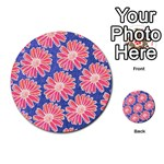 Pink Daisy Pattern Multi-purpose Cards (Round)  Back 28