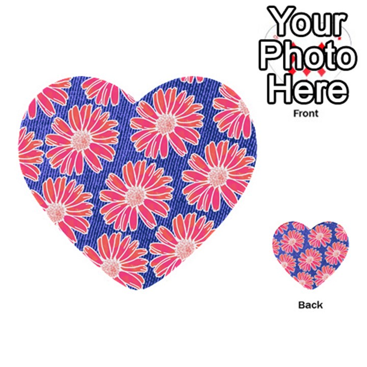 Pink Daisy Pattern Multi-purpose Cards (Heart)