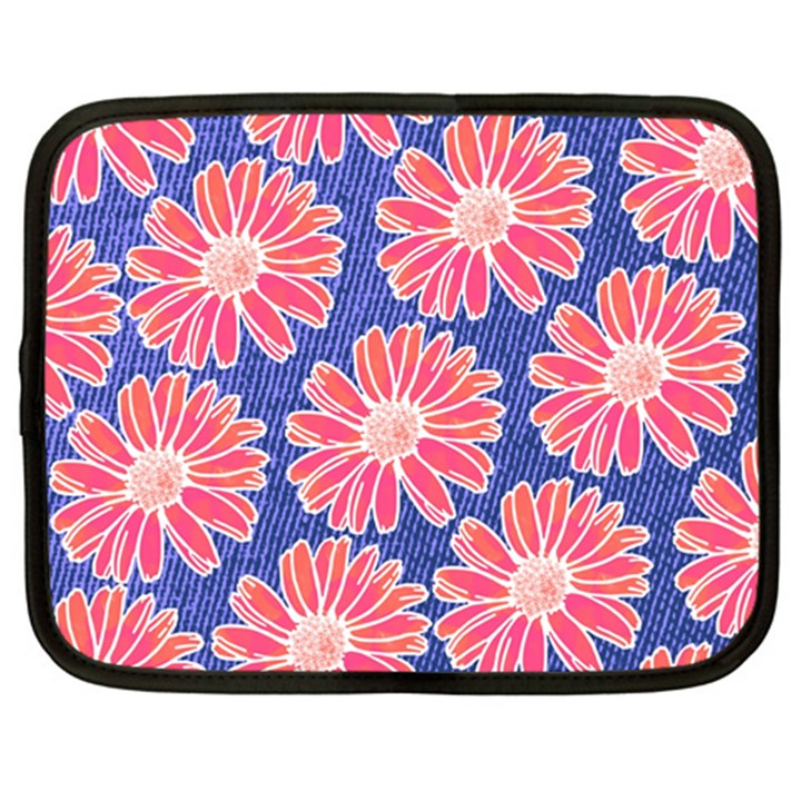 Pink Daisy Pattern Netbook Case (Large)