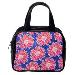 Pink Daisy Pattern Classic Handbags (One Side)