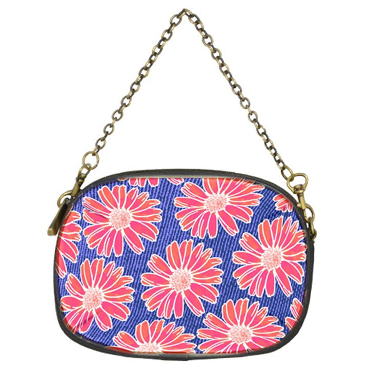 Pink Daisy Pattern Chain Purses (Two Sides)
