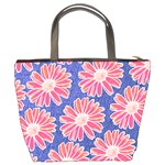 Pink Daisy Pattern Bucket Bags Back