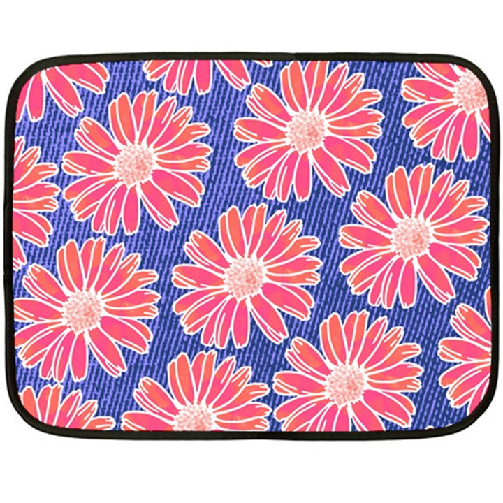 Pink Daisy Pattern Double Sided Fleece Blanket (Mini)