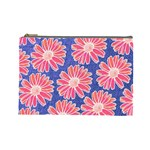 Pink Daisy Pattern Cosmetic Bag (Large)  Front