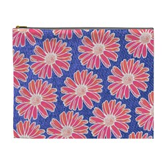 Pink Daisy Pattern Cosmetic Bag (xl)