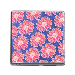 Pink Daisy Pattern Memory Card Reader (square)