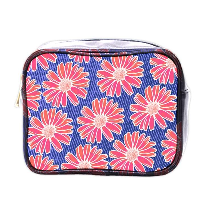 Pink Daisy Pattern Mini Toiletries Bags