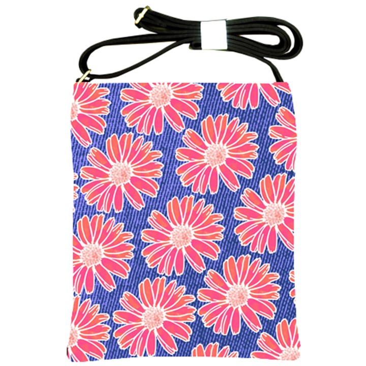 Pink Daisy Pattern Shoulder Sling Bags