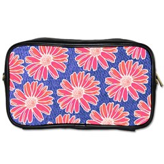 Pink Daisy Pattern Toiletries Bags 2 Side