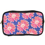 Pink Daisy Pattern Toiletries Bags 2-Side Back