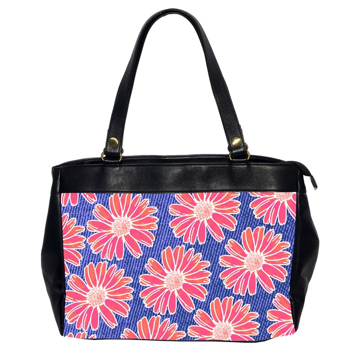 Pink Daisy Pattern Office Handbags (2 Sides)