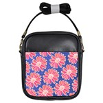 Pink Daisy Pattern Girls Sling Bags Front