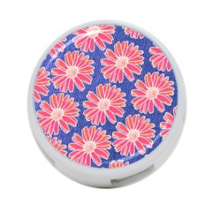 Pink Daisy Pattern 4 Port Usb Hub (one Side)
