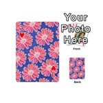 Pink Daisy Pattern Playing Cards 54 (Mini)  Front - Heart3
