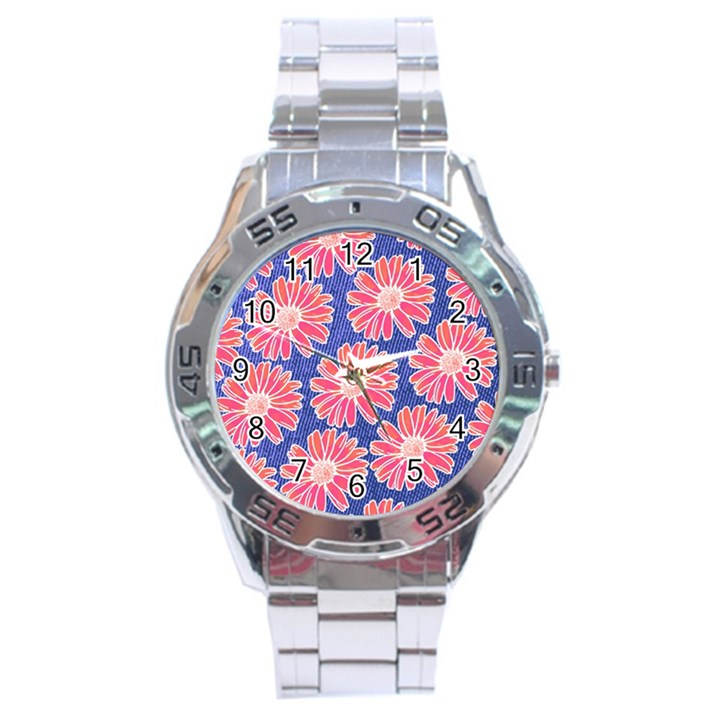 Pink Daisy Pattern Stainless Steel Analogue Watch