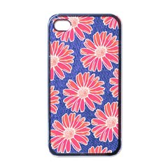 Pink Daisy Pattern Apple iPhone 4 Case (Black)