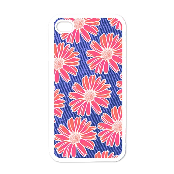 Pink Daisy Pattern Apple iPhone 4 Case (White)