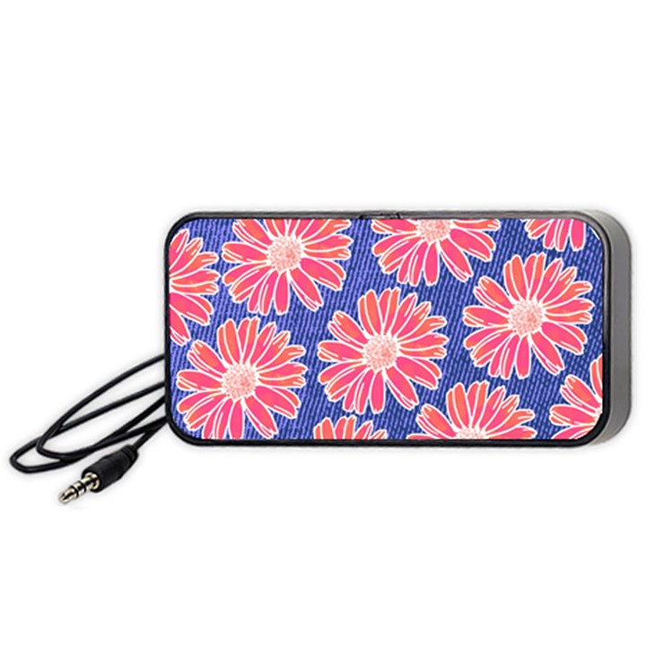 Pink Daisy Pattern Portable Speaker (Black)