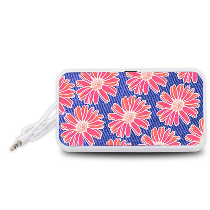Pink Daisy Pattern Portable Speaker (White)
