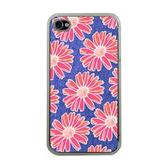 Pink Daisy Pattern Apple Iphone 4 Case (clear)