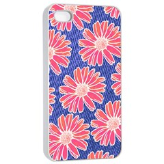 Pink Daisy Pattern Apple Iphone 4/4s Seamless Case (white)