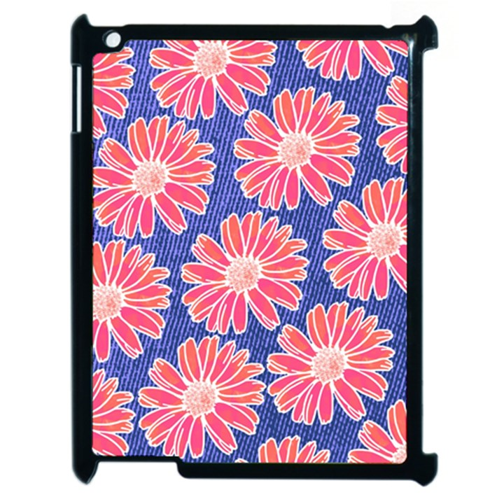 Pink Daisy Pattern Apple iPad 2 Case (Black)