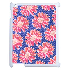 Pink Daisy Pattern Apple iPad 2 Case (White)