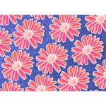 Pink Daisy Pattern Ribbon 3D Greeting Card (7x5) Back