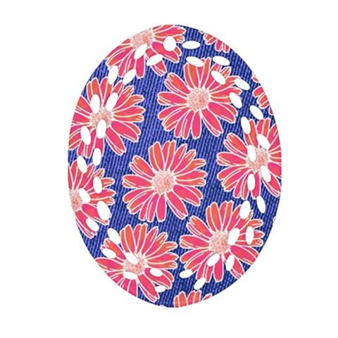 Pink Daisy Pattern Oval Filigree Ornament (2-Side)