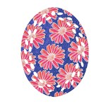 Pink Daisy Pattern Oval Filigree Ornament (2-Side)  Front