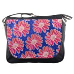 Pink Daisy Pattern Messenger Bags Front
