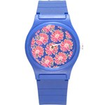 Pink Daisy Pattern Round Plastic Sport Watch (S) Front