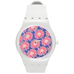 Pink Daisy Pattern Round Plastic Sport Watch (M) Front