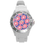 Pink Daisy Pattern Round Plastic Sport Watch (L) Front
