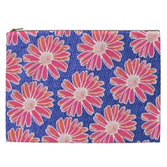 Pink Daisy Pattern Cosmetic Bag (XXL)
