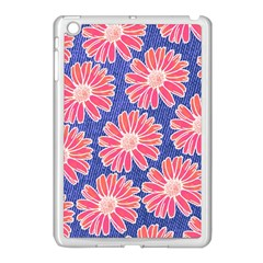 Pink Daisy Pattern Apple iPad Mini Case (White)