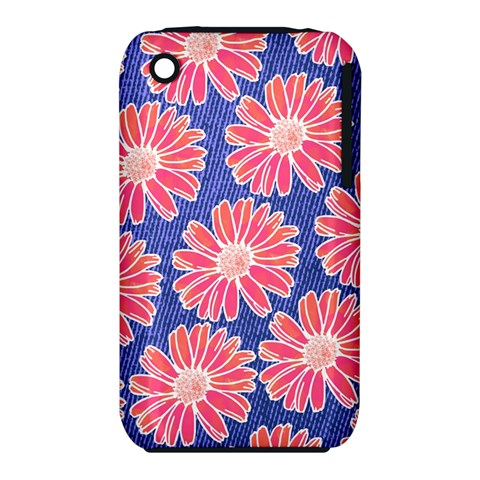 Pink Daisy Pattern Apple iPhone 3G/3GS Hardshell Case (PC+Silicone)