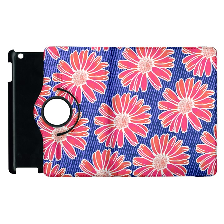Pink Daisy Pattern Apple iPad 2 Flip 360 Case