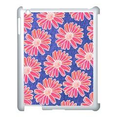 Pink Daisy Pattern Apple iPad 3/4 Case (White)