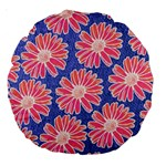 Pink Daisy Pattern Large 18  Premium Round Cushions Front
