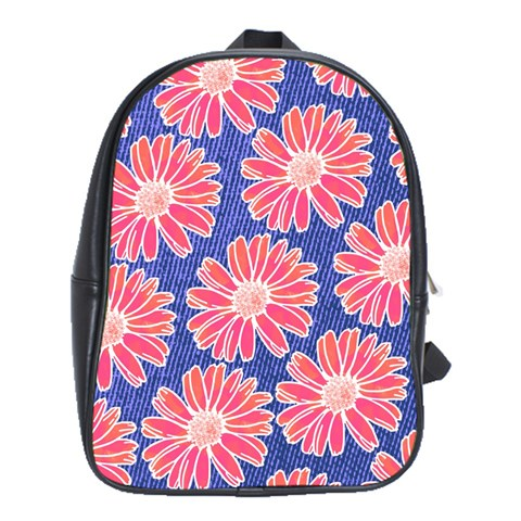 Pink Daisy Pattern School Bags (XL)